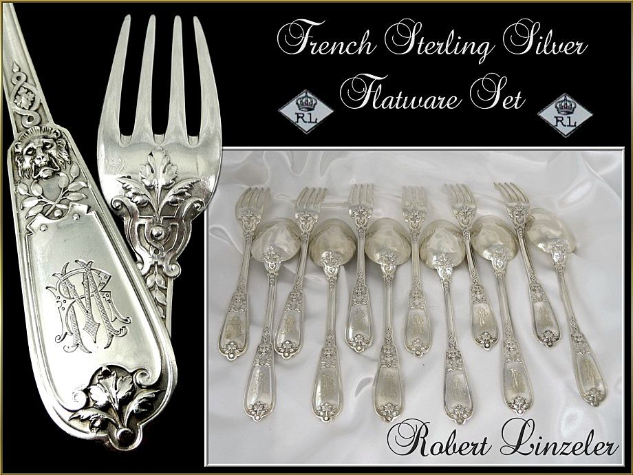 French Sterling Silver Flatware Set - Lion Head- for 6. R. Linzeler