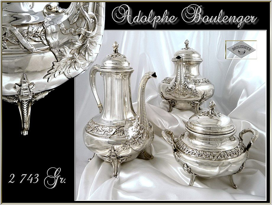 A. Boulenger ; Antique French Sterling Silver Tea, Coffee set -  2743 gr.