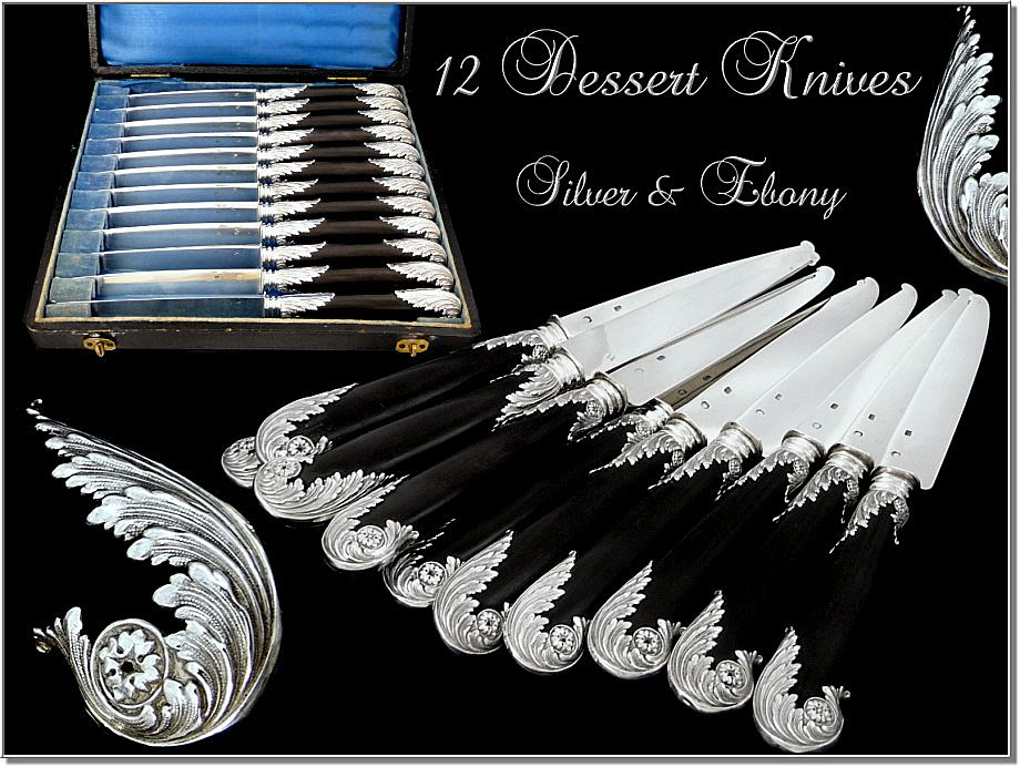 Antique French Sterling Silver & Ebony Dessert Knives Rococo