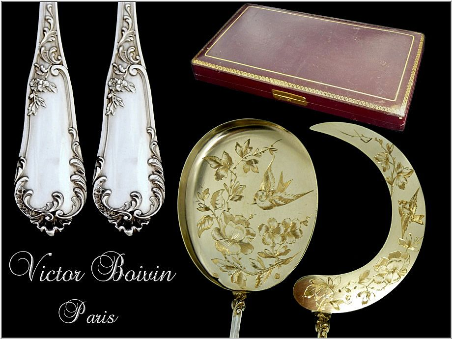 Victor Boivin ; French Sterling Silver & Vermeil  Ice Cream Servers. 2p.