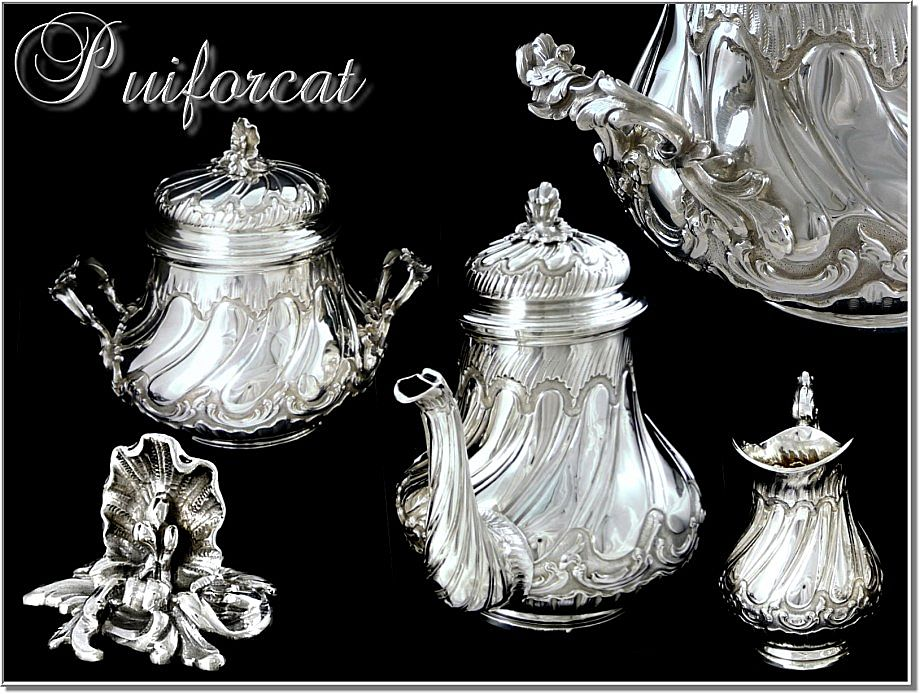 PUIFORCAT :  Antique French Sterling Teapot  Set - Louis XV  Rocaille