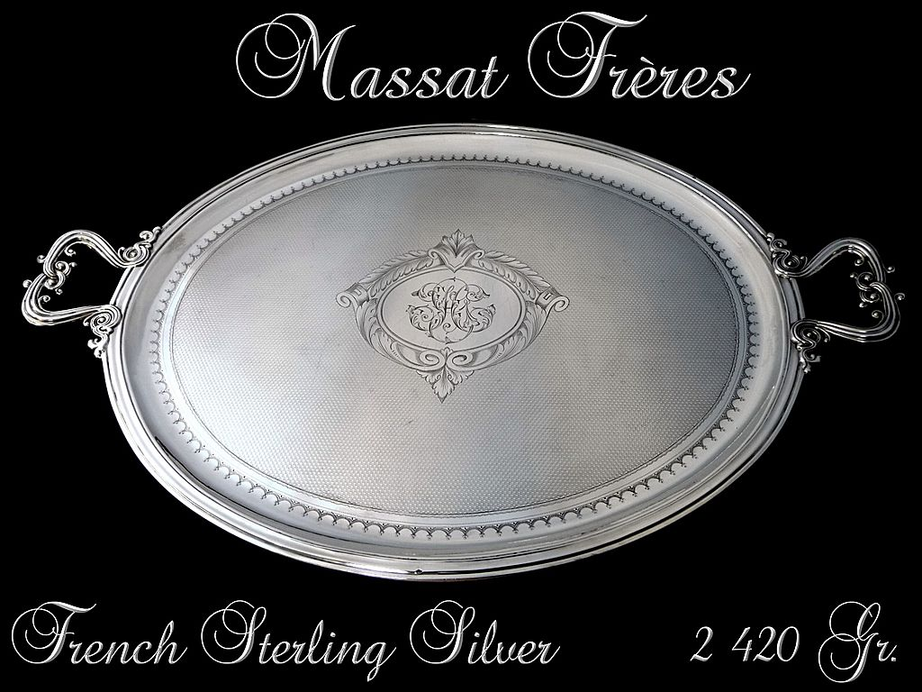 Antique French Sterling  Silver Tray with Guilloche Napoléon III Style 2 420 Gr.