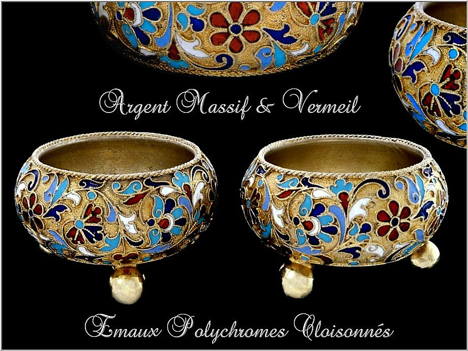 Pair of Russian Cloisonné Enamel Silver-Gilt Salt Cellars. 1896-1908