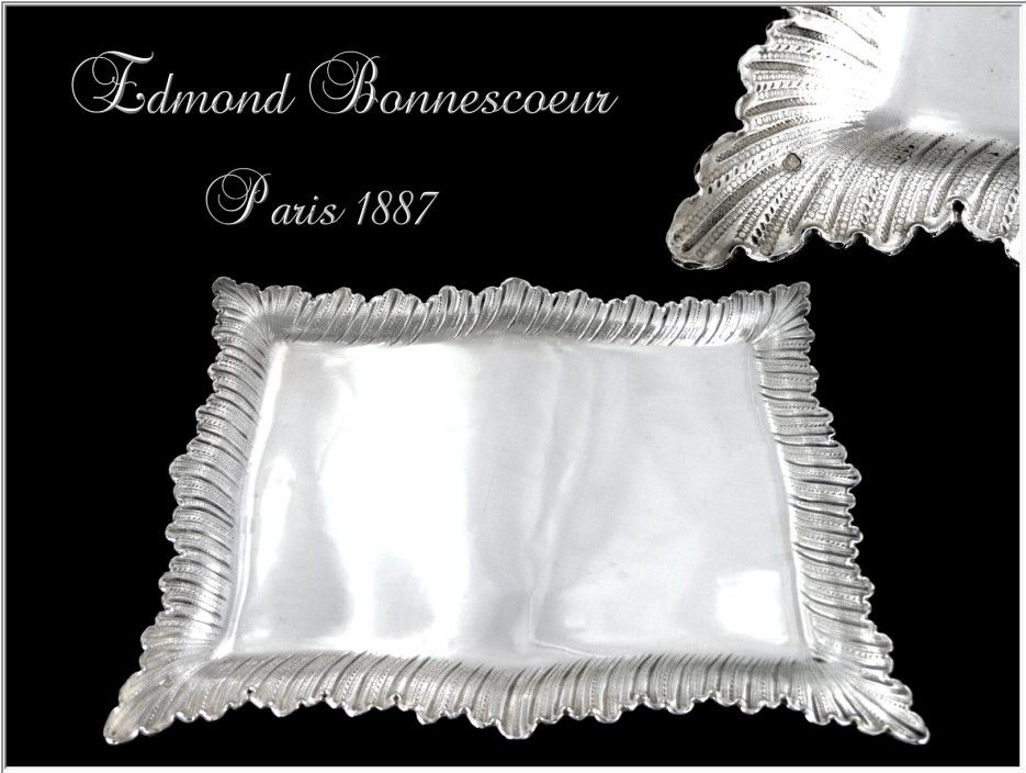 Ed Bonnescoeur  - Antique French Sterling Silver Tray to Letters / Playing Cards