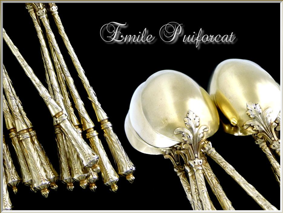 Emile PUIFORCAT Paris -Antique French Sterling & Vermeil  Tea  or Dessert Spoons 12 Pc.