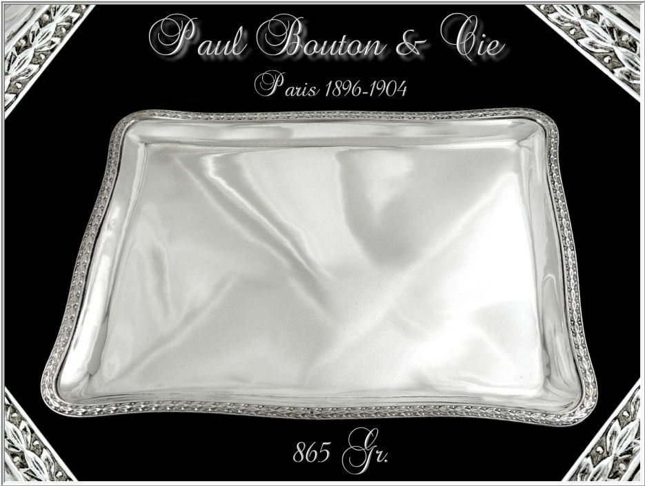 PAUL BOUTON & Cie - Antique French Sterling Silver Tray Louis XVI Style Paris 1896