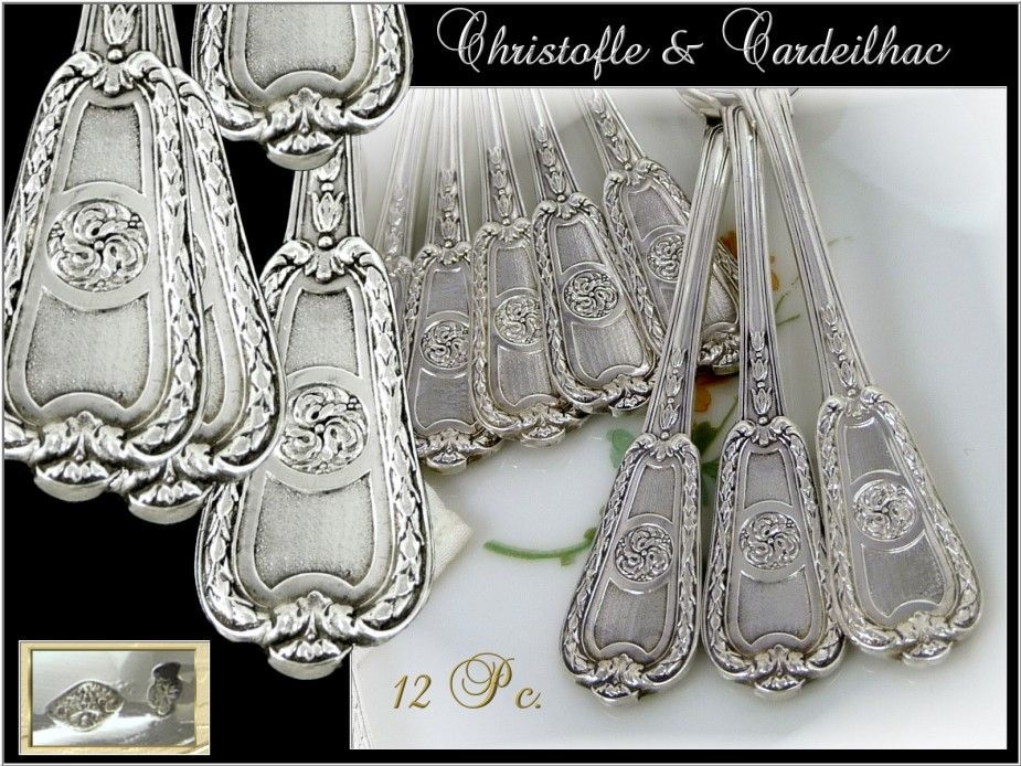 Christofle and Cardeilhac - Antique French Sterling Silver Mocha Spoons Louis XVI St.