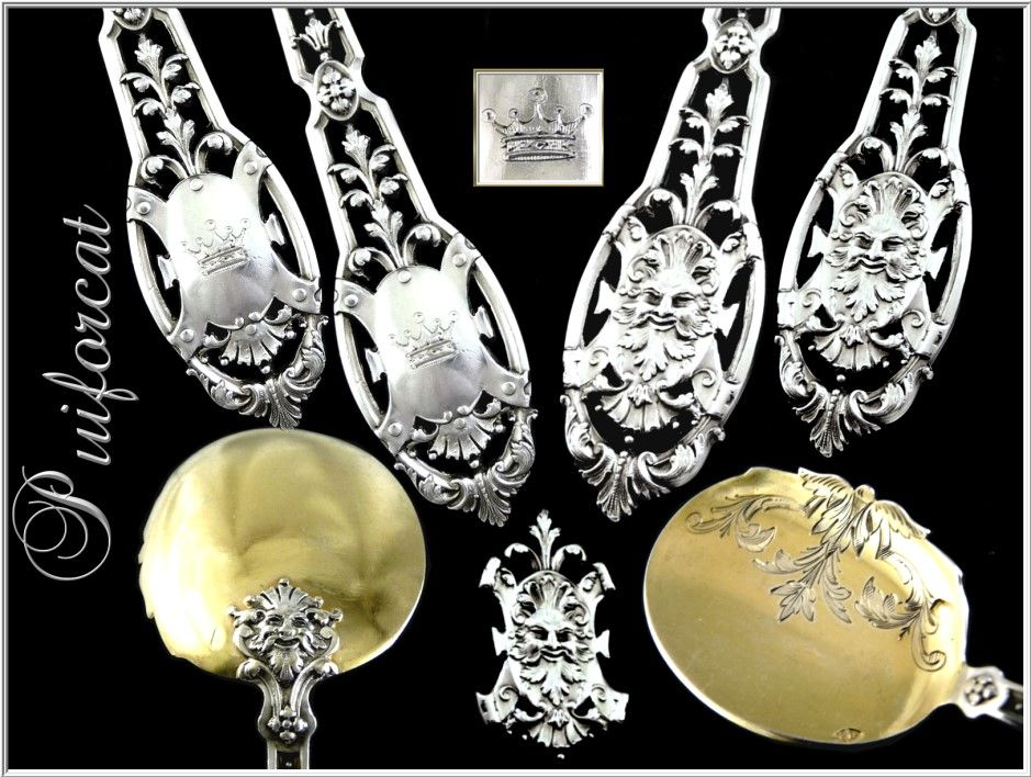 Puiforcat -Renaissance, French Sterling Silver & Vermeil 12 Ice-Cream Spoons with Mascarons