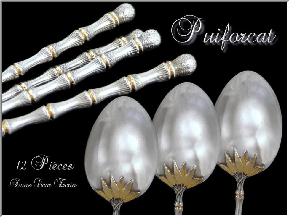 PUIFORCAT . French Sterling Silver Moka Spoons. Rare model Bamboo 12 p.