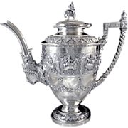 Very Rare and Sumptuous Sterling Silver Coffee Pot - Hindus Attributes- XIXth. C. Bombay