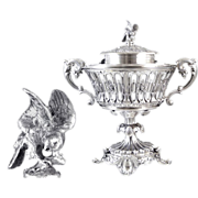 Antique French Sterling Silver Sugared Almond Pot or Jam Pot - With  Eagle - 19th C. Minerva