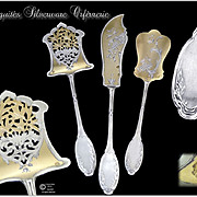 Antique French Sterling Silver & Vermeil Hors-d'Oeuvre Serving set - Louis XVI Pattern.