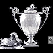 Antique French Sterling Silver Sugared Almonds Pot or Sugar Bowl. Empire Era