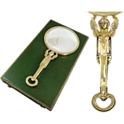 Antique French Sterling Silver & Vermeil Looking -Glass Empire Style