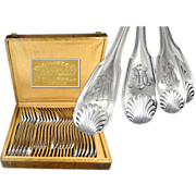 E.PUIFORCAT - 24 Pc. French Sterling Silver XVIII° Style, Flatware Set for Six - 4 Pc. Setting.