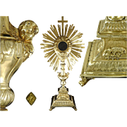 French Sterling Silver Vermeil Imposing Monstrance Ostensoir Paris 1819-1839