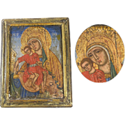 Antique Greek Icon on wood - Crowned Virgin and Child
