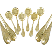 Antique French Sterling Silver and Vermeil Ice Cream Spoons. Roussel Fils & Cie Paris