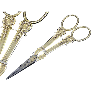 Antique French Sterling Silver & Vermeil Pair of Grape Scissors, Nemours Model.
