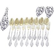 Louis XV Style, Antique French Sterling Silver & Gilt Dessert Flatware Set-  8 Guests
