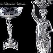Debain & Flamant - Antique French Sterling Silver & Crystal Centerpiece. Minerve