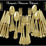 KELLER -  Somptuous Antique French Sterling Silver and Vermeil Dessert Flatware Set-  36 Pc.- for 12 Guests