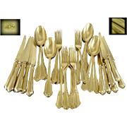 KELLER -  Somptuous Antique French Sterling Silver and Vermeil Dessert Flatware Set-  36 Pc.- for 12 Guests
