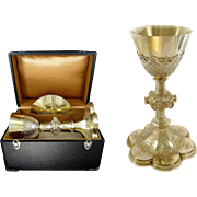Gothic Style - Antique French Sterling Silver & Vermeil Chalice & its Paten With Box