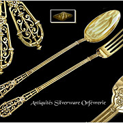 Puiforcat Sumptuous  & Very Rare French Sterling Silver & Vermeil Serving Cutlery