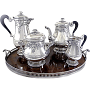 Paul Devaux Paris French Sterling Silver Tea & Coffee Set 4 Pieces  & Tray,  Mascarons, Regence Style