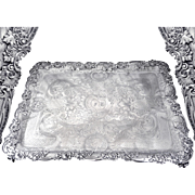 Turquet - Sumptuous Antique French Sterling Silver Engraved Serving Tray 2745 Gr