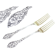 Jean Grandvigne - Antique French Sterling Silver Dessert / Hors-d 'oeuvre Forks Head -to -Head
