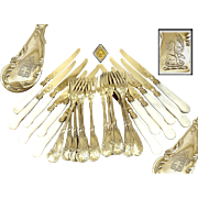 Cardeilhac -  Antique French Sterling Silver, Vermeil & Mother of Pearl Pie and Cake Flatware Set Louis XV St.