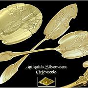 Celtic Influence - Antique French Sterling Silver & Vermeil Ice Cream Servers Set Art Nouveau