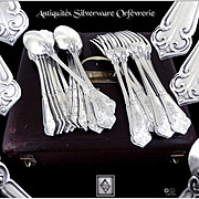 "Henri SOUFFLOT - Rare Antique French  Sterling Silver ""Fer de Lance"" Dinner Flatware Set, for 12 Guests."