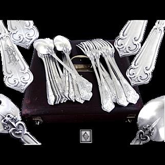 """Henri SOUFFLOT - Rare Antique French  Sterling Silver """"Fer de Lance"""" Dinner Flatware Set, for 12 Guests."""