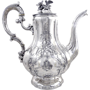 Emile HUGO  - Antique French Sterling Silver Engraved Coffee Pot, With birds