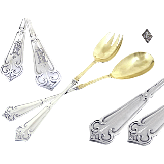 Neo-Gothic - Rare Antique French Sterling Silver and Vermeil Salad Servers Henri Soufflot Paris.