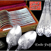 "PUIFORCAT - Neo Gothic - Antique French Sterling Silver Dessert / Tea Spoons ""Fer de Lance"" Pattern with their Box."
