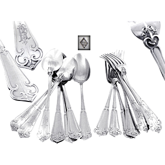 "Soufflot - Antique French Sterling Silver Hors-d'Oeuvre / Dessert Flatware Set "" Fer de Lance "" 8 Guests"