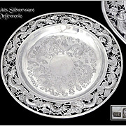 Antique Chinese Sterling Silver pierced and Engraved Dish