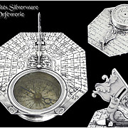 Very Rare Sundial of Pocket or Travel Sterling Silver signed Butterfield in Paris (Michael Butterfield 1635-1724).