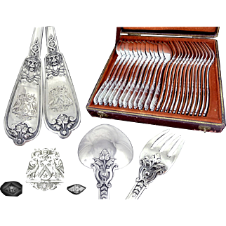 LINZELER -  Armorial Bearings - Antique French Sterling Silver  Dinner Flatware Set 12 Guests - Minerve