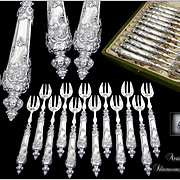 Renaissance  - Antique French Sterling Silver Oysters Forks Set 12 pc. by Louis COIGNET Paris.