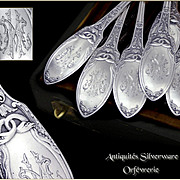 Empire St. Antique French Sterling Silver Flatware set - Swans - For 18 Guests  - With Box .Minerve