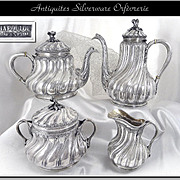 Very Rare -V. Chapoulou,  Palais Royal Paris -Antique French Sterling Silver Tea and Coffee Set 4 Pieces
