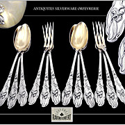 RAVINET & D'Enfert - Art Nouveau, Antique French Sterling Silver Dessert Flatware Set. Iris Pattern.