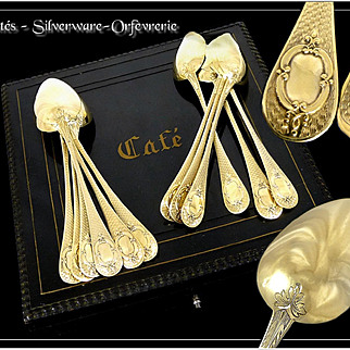 """Rare & Beautiful - Antique French Sterling Silver & Vermeil """" Guilloché"""" Coffee or Tea Spoons With Original Box"""
