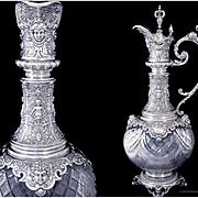 Antique Sterling Silver and Crystal Ewer - Germany 19th-century