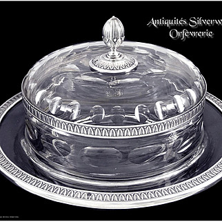 Antique French Sterling Silver & Crystal Large Caviar Pot - Orfèvrerie Maillard Paris  -